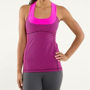 Lululemon scoop neck tank.. hyper stripe raspberry